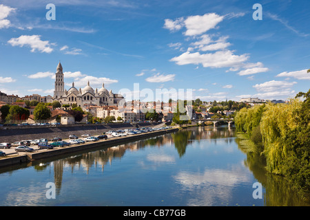 Dordogne - Perigueux St Front Cathedral and River Isle, France, Europe - Stock Photo