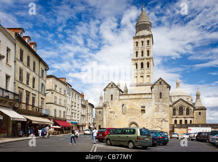 St Front Cathedral and streets in Perigueux, Dordogne, Aquitaine, France - Stock Photo