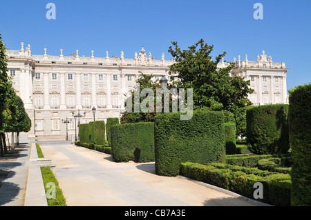The Palacio Real (The Royal Palace) with garden in the city of Madrid (Spain). - Stock Photo