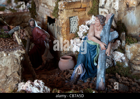 An artistic crib built from polythene and peopled with biblical figures for show during Christmas in Xaghra in Malta. - Stock Photo