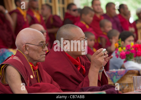 Abbot of Phayang Monastery at a festival to celebrate his birthday at Phayang Gompa, (Ladakh) Jammu & Kashmir, India - Stock Photo