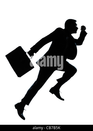 one  business man jumping running silhouette Full length in studio isolated on white background - Stock Photo