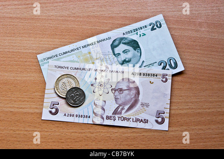 Reverse side of Turkish money (lira) and coins - Stock Photo
