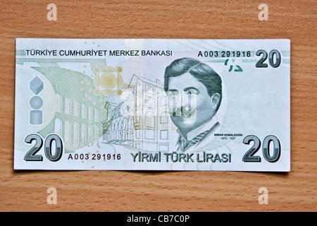 Reverse side of Turkish money (lira) - Stock Photo