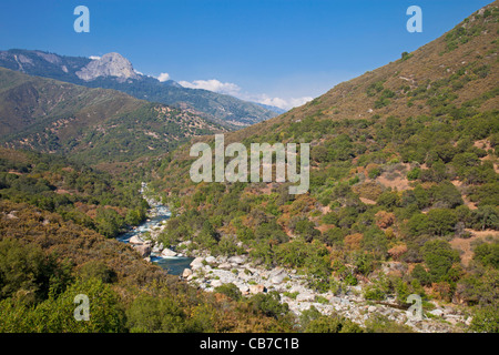View from General's Highway with Moro Rock, Sequoia National Park, California, USA - Stock Photo