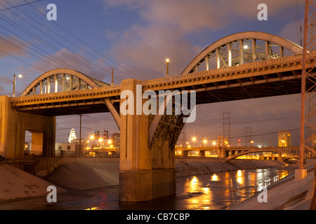 6th Street Bridge over the Los Angeles River, Downtown Los Angeles, California, USA - Stock Photo