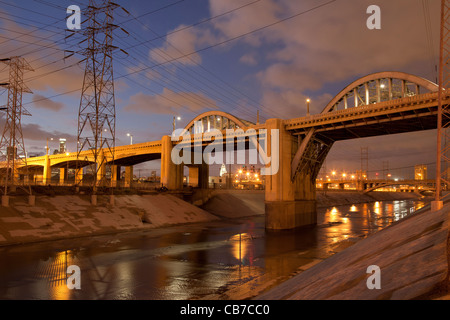 6th Street Bridge over the Los Angeles River, Downtown Los Angeles, California, USA Stock Photo