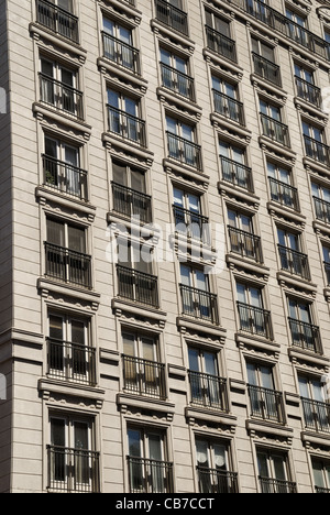 Small apartment building balconies on Church street in downtown Toronto Ontario Canada - Stock Photo
