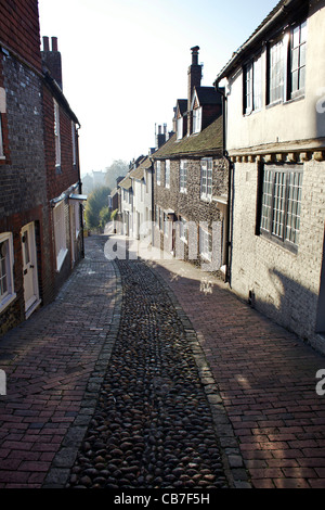 Keere Street, Lewes with cobbled street - Stock Photo