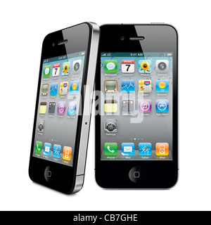 Two iPhone 4s Apple smartphone with desktop icons on its display. Isolated on white background - Stock Photo