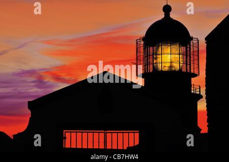 Portugal, Algarve: Sundown at the lighthouse Cabo de Sao Vicente - Stock Photo