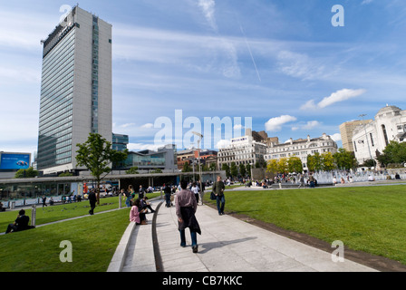Piccadilly gardens and city tower Manchester - Stock Photo
