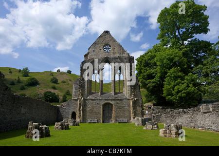 Valle Crucis ruined Cistercian abbey in Llantysilio, near Llangollen, Wales, Cymru, UK, United Kingdom, - Stock Photo