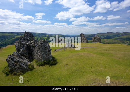 View from Castell Dinas Bran, looking to the Berwyn Hills, Llangollen, Denbighshire, Wales, Cymru, UK, United Kingdom, - Stock Photo