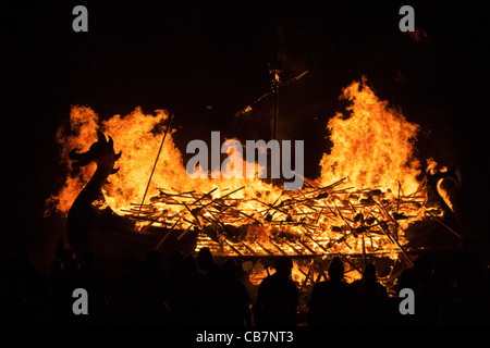 The burning of a Viking Galley at the Up Helly Aa festival in Lerwick on the Shetland Islands. - Stock Photo