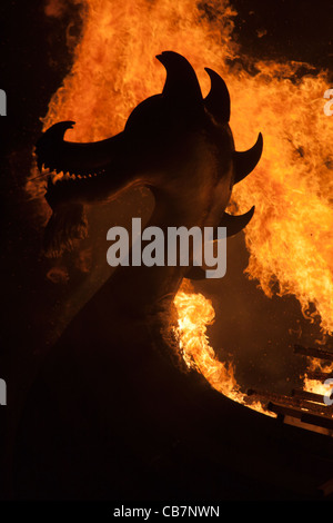 The burning figurehead of a Viking Galley at the Up Helly Aa festival in Lerwick on the Shetland Islands. - Stock Photo