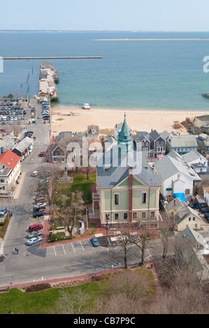Provincetown town hall from the height of Pilgrim Monument, Cape Cod - Stock Photo