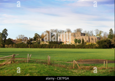 General views of Berkeley Castle from the meadow, Gloucestershire UK - Stock Photo