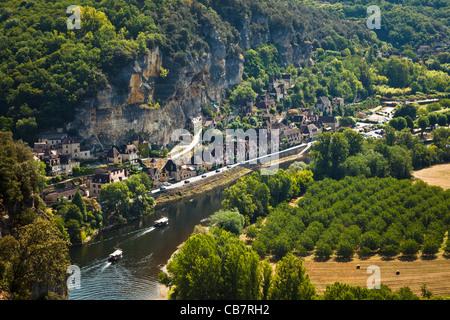 River Dordogne and La Roque Gageac - aerial view - Stock Photo