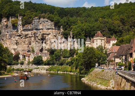 Dordogne river at La Roque Gageac with Chateau de la Malartrie in background, France, Europe - Stock Photo