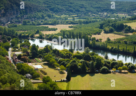 View of Dordogne river valley, France, Europe in summer  in Perigord Noir - Stock Photo