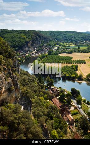 France - Dordogne river valley, Dordogne, France - aerial view in summer - Stock Photo