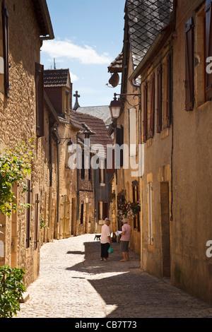 Street in village of Montignac, Perigord Noir, Dordogne, France, Europe - Stock Photo