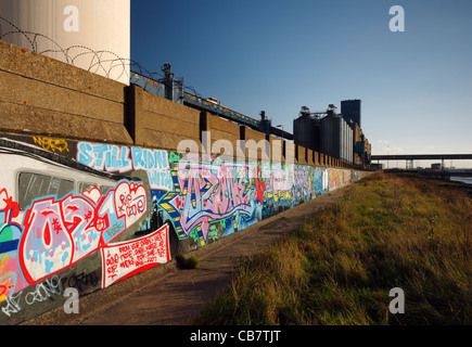 Street art dedicated to two graffiti artists Ozone and Wize who killed by a train in 2006. - Stock Photo