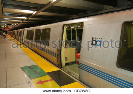 San Francisco California Market Street BART Montgomery Station rapid transit public transportation subway system - Stock Photo
