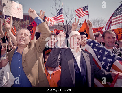 Albanian-Americans protest in support of NATO bombings of Yugoslavia and demanding more action to protect Kosovo - Stock Photo