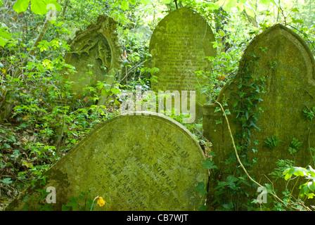 Tombstones in 'Nunhead Cemetery' London UK - Stock Photo