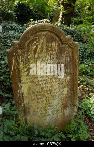 Tombstone in 'Nunhead Cemetery' London UK - Stock Photo