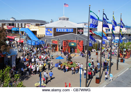 San Francisco California The Embarcadero Pier 39 waterside recreation area Fisherman's Wharf entrance busy plaza - Stock Photo