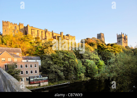 Durham Castle and Cathedral panoramic view on the skyline in soft autumn light under a clear, cloudless blue sky - Stock Photo