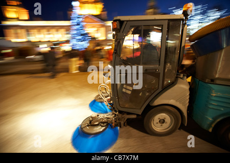 belfast city council street sweeper cleaning streets at night northern ireland uk deliberate panning motion blur - Stock Photo