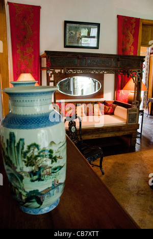 Island of Mauritius. Eureka House, fine restored colonial home built in 1834. Interior, sitting room with vintage - Stock Photo
