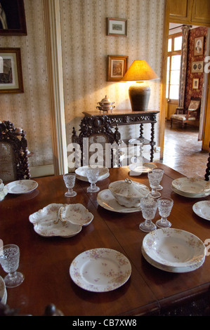 Island of Mauritius. Eureka House, fine restored colonial home built in 1834. Interior dining room with vintage - Stock Photo