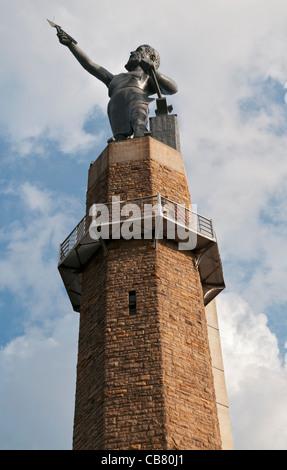 Alabama, Birmingham, Vulcan Park, Vulcan Statue, 56 feet high on 124 foot pedestal - Stock Photo