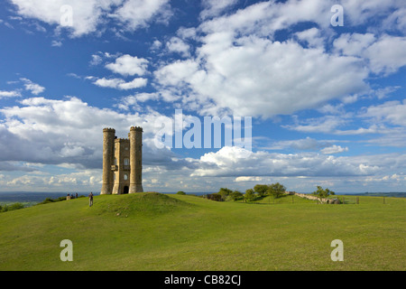 Broadway Tower in evening spring sunshine, Worcestershire, Cotswolds, England, UK, United Kingdom, GB, Great Britain - Stock Photo