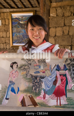 China Yunnan Lijiang Baisha embroidery school - Stock Photo