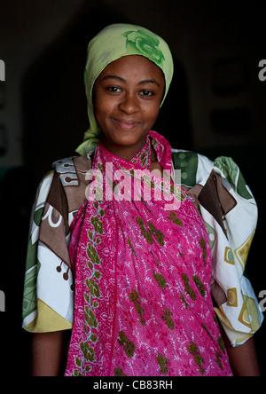 Pate Island: Teenage Girl Wearing Traditional Costume In Lamu, Kenya - Stock Photo
