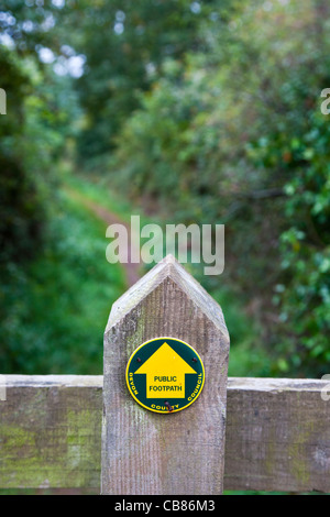 Public footpath sign on fence in Devon, England - Stock Photo