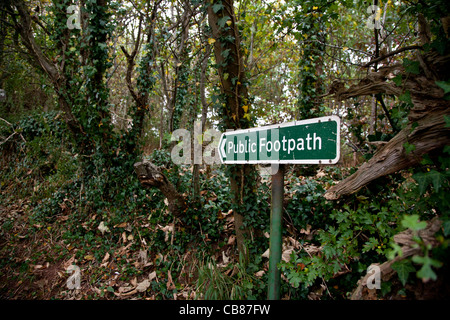 Public footpath sign in a wooded lane, Devon, England - Stock Photo