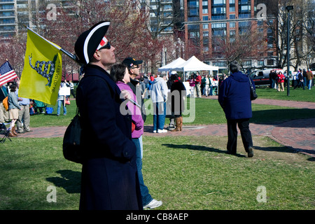 Protesters in Boston against the government at 15 April 2011 - Stock Photo
