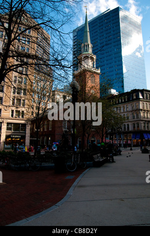 Old South Meeting House, old and new contrast In Boston, MA, USA - Stock Photo