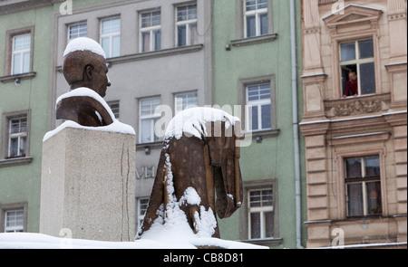 Prague, equestrian statue of Jaroslav Hasek, the autor of the Good Soldier Svejk, iconic author. (CTK Photo/Martin - Stock Photo