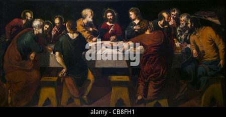 Last Supper by Jacopo Robusti Il Tintoretto Museo de la Real Academia de Bellas Artes de Royal Academy of San Fernando - Stock Photo