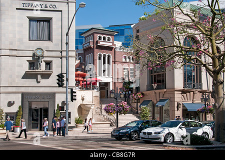 Tiffany & Co Rodeo Drive boutiques shops Beverly Hills Los Angeles California United States - Stock Photo