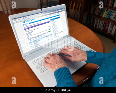 Female elderly hands using a laptop to check her bank balance via online banking - Stock Photo