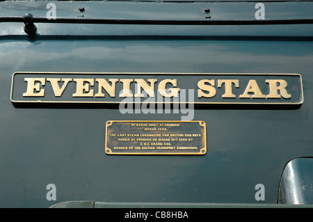 Nameplate of preserved Standard class 9F Evening Star No. 92220, the last steam locomotive built for British Railways, - Stock Photo